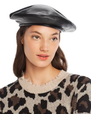 MARZI Leather Beret in Black