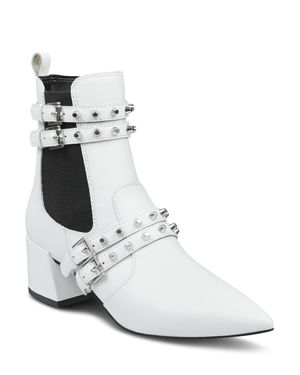 KENDALL AND KYLIE Kendall And Kylie Women'S Rad Pointed Toe Leather Booties in White