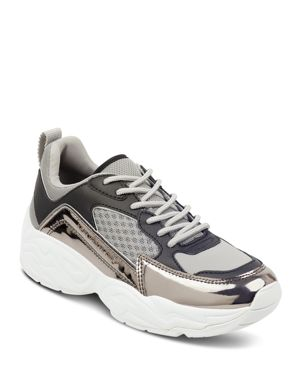 KENDALL AND KYLIE Kendall And Kylie Women'S Focus Metallic Leather & Fabric Dad Sneakers in Gray