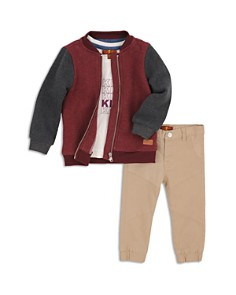 7 For All Mankind - Boys' Fleece Bomber Jacket, Graphic Tee & Moto Pants Set - Little Kid