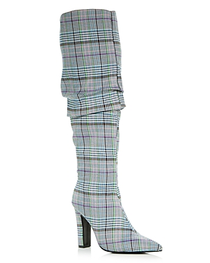 Jaggar WOMEN'S FORTUNE PLAID POINTED TOE HIGH-HEEL BOOTS