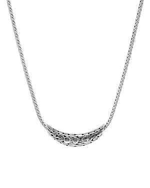Sterling Silver & 18K Bonded Gold Classic Chain Hammered Arc Adjustable Necklace, 18