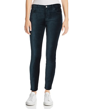 7 For All Mankind - Ankle Skinny Velvet Jeans in Blackened Emerald