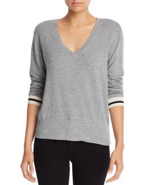 Monrow Striped-Cuff V-Neck Sweatshirt