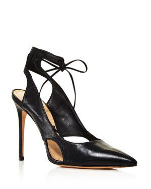 Schutz Women's Sharon Cutout Leather Ankle-Tie Pumps