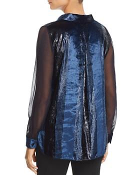 Elie Tahari - Ingunn Metallic Stripe Velvet Blouse