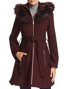 Laundry by Shelli Segal - Hooded Faux Fur Trim A-Line Coat