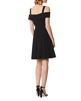 KAREN MILLEN - Cold-Shoulder Fit-and-Flare Dress