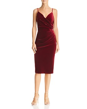 Aijek - Faux-Wrap Velvet Dress - 100% Exclusive