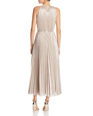 Ashley Metallic Pleated Gown, Champagne