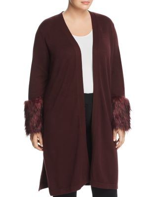 Faux Fur Cuff Duster Cardigan by Vince Camuto Plus