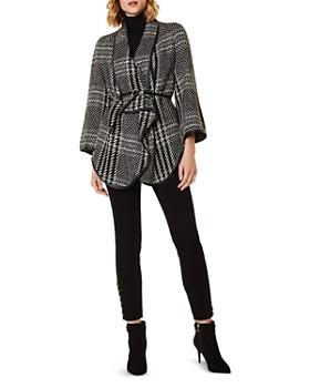 KAREN MILLEN - Oversized Check Wrap Jacket
