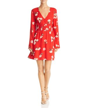 EN CREME Floral Print A-Line Mini Dress in Red Floral