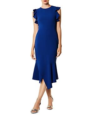 Karen Millen Ruffled Asymmetric Midi Dress