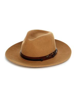 BAILEY OF HOLLYWOOD Bailey Of Hollywood Stedman Leather-Trimmed Fedora Hat in Camel