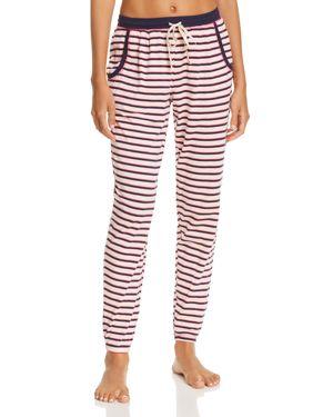 JANE & BLEECKER NEW YORK Printed Knit Jogger Pants in Pink Stripe