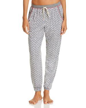 JANE & BLEECKER NEW YORK Printed Knit Jogger Pants in Gray Dot