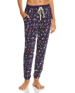 JANE & BLEECKER NEW YORK Printed Knit Jogger Pants in Blue Multi