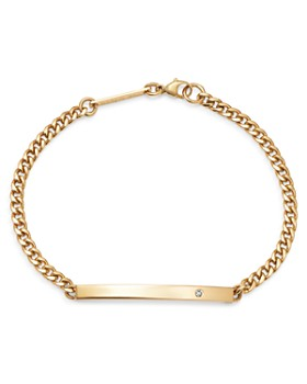 Zoë Chicco - 14K Yellow Gold ID Bar Diamond Curb Chain Bracelet