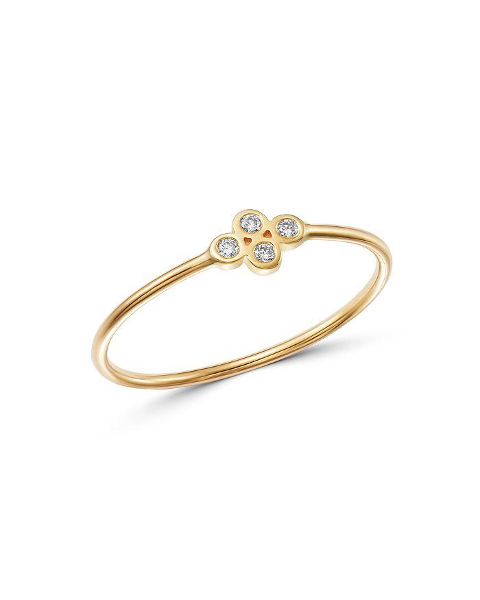ZoË Chicco 14K Yellow Gold Tiny Quad Diamond Ring In White/Gold