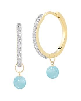 MATEO - 14K Yellow Gold Diamond & Milky Aquamarine Detachable Drop Hoop Earrings
