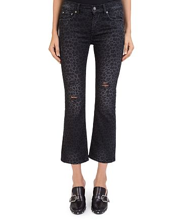 The Kooples - Distressed Cropped Jeans in Leopard Black