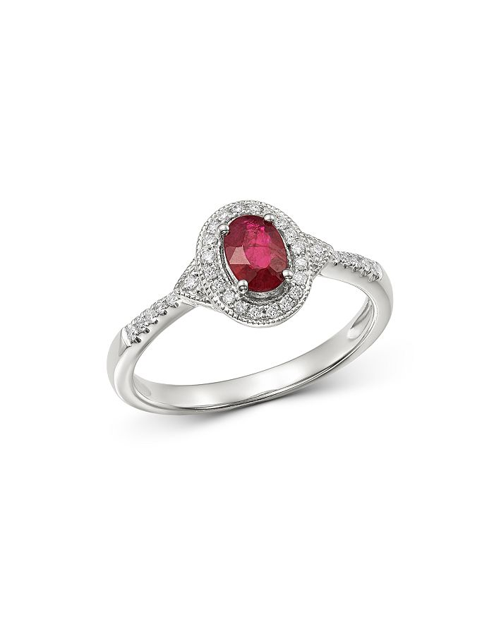 Bloomingdale's - Ruby & Diamond Milgrain Delicate Ring in 14K White Gold - 100% Exclusive