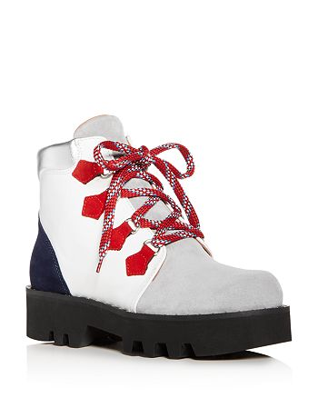 Tabitha Simmons - Women's Neir Color-Block Leather & Suede Platform Booties