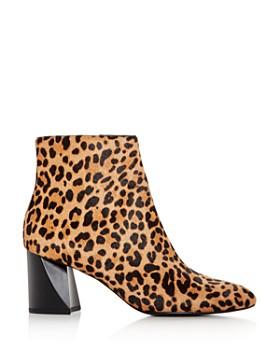 Kendall + Kylie - Women's Hadlee Leopard Print Calf Hair Block-Heel Booties