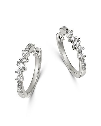 Bloomingdale's - Diamond Small Geometric Hoop Earrings in 14K White Gold, 0.40 ct. t.w. - 100% Exclusive