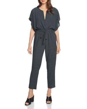 Dash Print Flutter Sleeve Jumpsuit in Rich Black/Jade