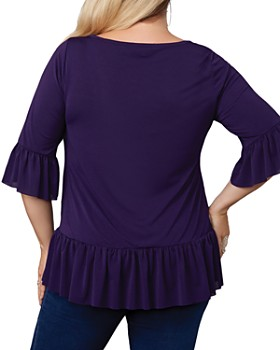 Belldini Plus - Bell Sleeve Ruffle Top