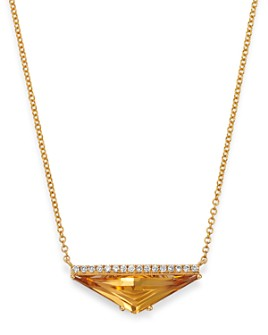 "Bloomingdale's - Citrine & Diamond Pendant Necklace in 14K Yellow Gold, 18"" - 100% Exclusive"
