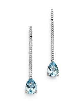 Bloomingdale's - Aquamarine & Diamond Linear Drop Earrings in 14K White Gold - 100% Exclusive