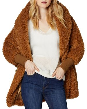 SAGE Collective Faux Fur Cocoon Jacket in Saddle