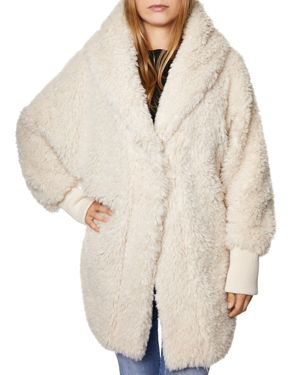 SAGE Collective Faux Fur Cocoon Jacket in Cotton Ball