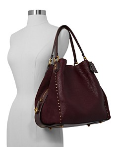 COACH - Edie 42 Rivet Leather & Suede Shoulder Bag