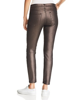 7 For All Mankind - Shine Ankle Skinny Jeans in Gunmetal