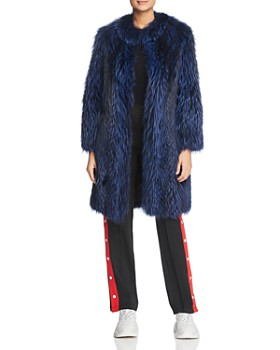 Maximilian Furs - Feathered Fox Fur Coat with Leather Trim - 100% Exclusive