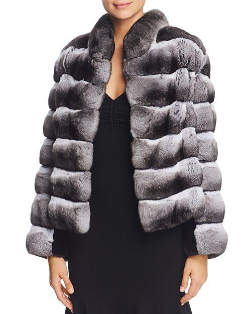 Maximilian Furs - Chinchilla Fur Coat with Mink Fur Trim - 100% Exclusive