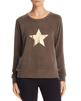 Theo & Spence - Metallic Star Graphic Raglan Sweatshirt