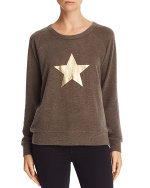 Theo & Spence Metallic Star Graphic Raglan Sweatshirt