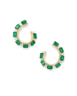 Bloomingdale's - Emerald & Diamond Front-Back Earrings in 14K Yellow Gold - 100% Exclusive