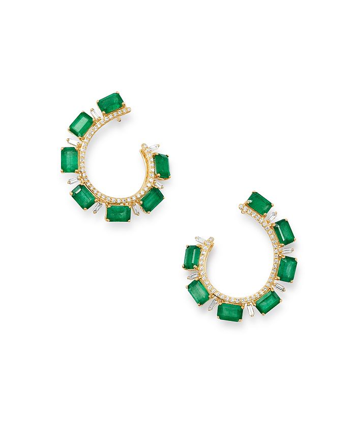 Bloomingdale's Emerald & Diamond Front-back Earrings In 14k Yellow Gold - 100% Exclusive In Green/gold