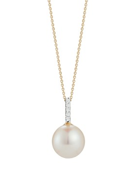 "MATEO - 14K Yellow Gold Diamond & Pearl Pendant Necklace, 16"""