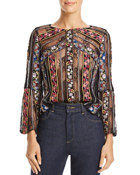 Alice and Olivia - Larue Sheer Lace-Inset Top