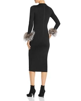 Alice and Olivia - Delora Fox Fur-Cuff Midi Dress