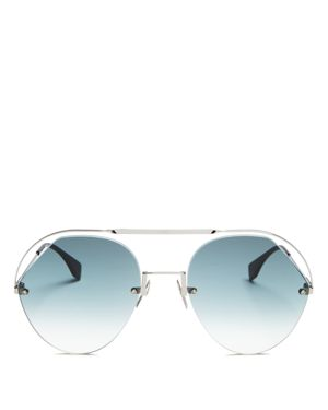 Women'S Brow Bar Round Sunglasses, 57Mm in Grey
