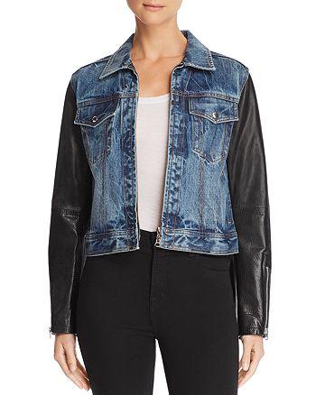 a32e40600 rag & bone Nico Denim & Leather Jacket | Bloomingdale's