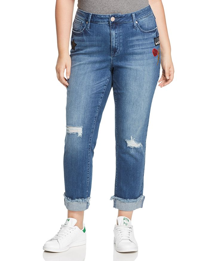 Seven7 Jeans Plus - Rolled-Hem Patch Jeans in Reeves